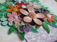 Original Paper Quilling Wall Art Small Basket With Flowers