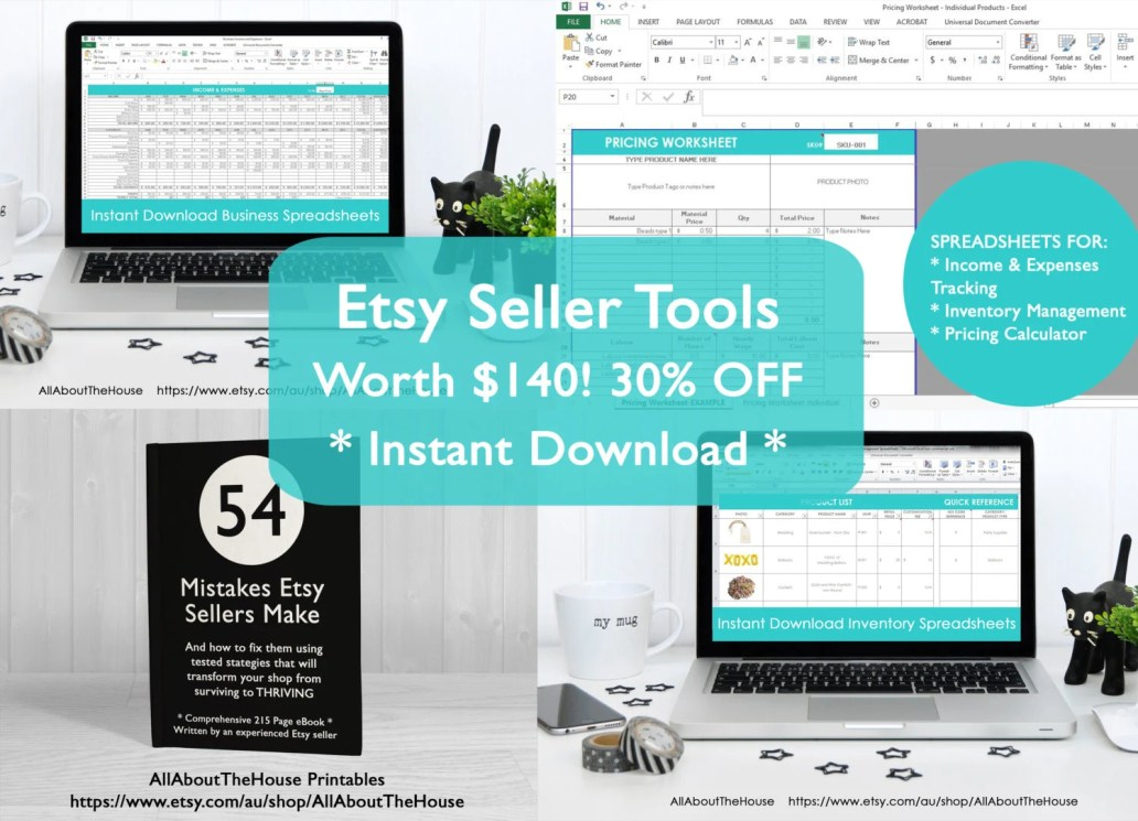 Etsy seller spreadsheets income expenses inventory tracking online business etsypreneur bookkeeping accounting tax time simple excel numbers google docs ebook for etsy sellers