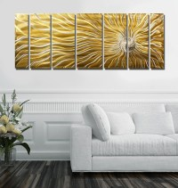 Gold Multi Panel Metal Wall Art Large Indoor Outdoor