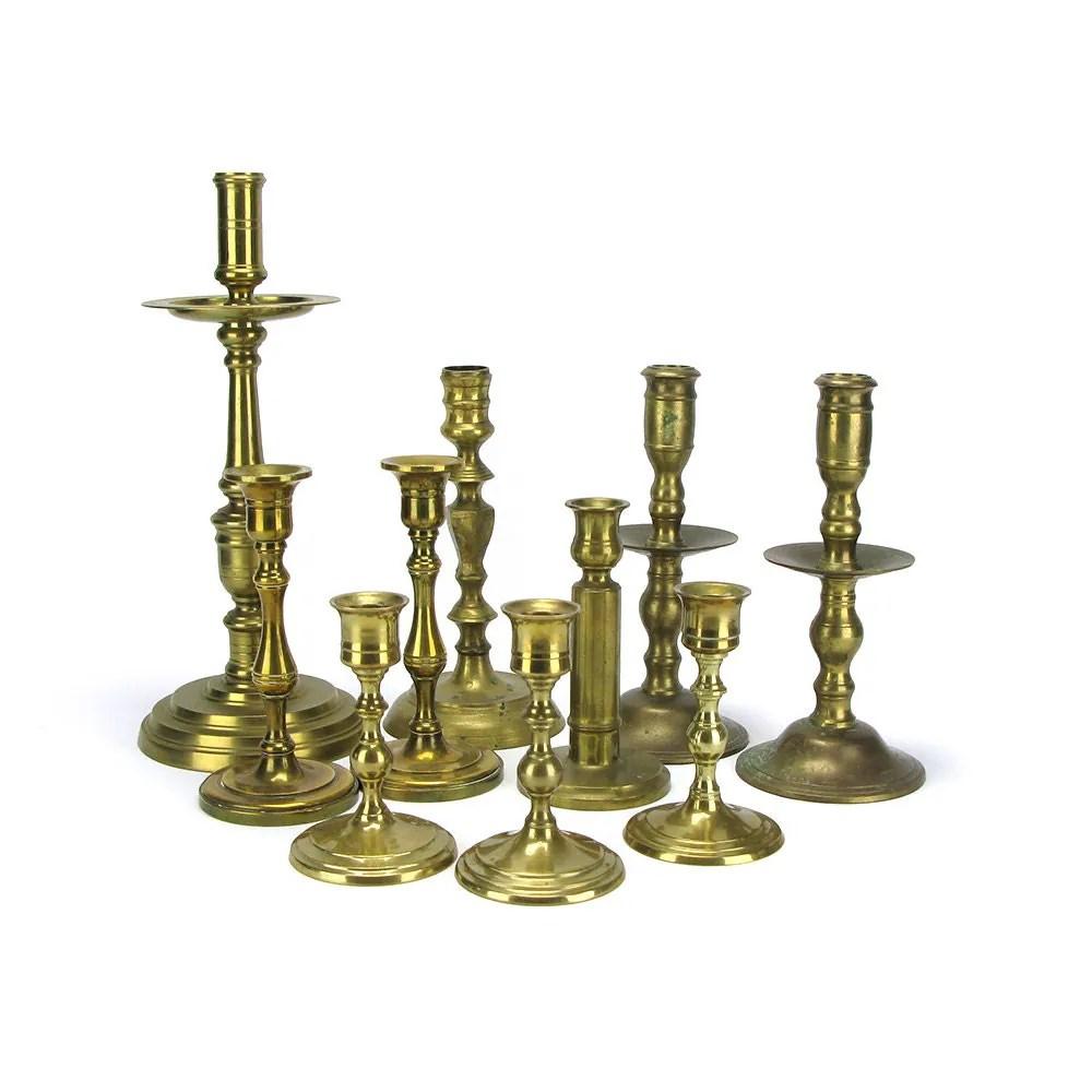 Lot 10 Vintage Brass Candlestick Candleholders Bulk Tall