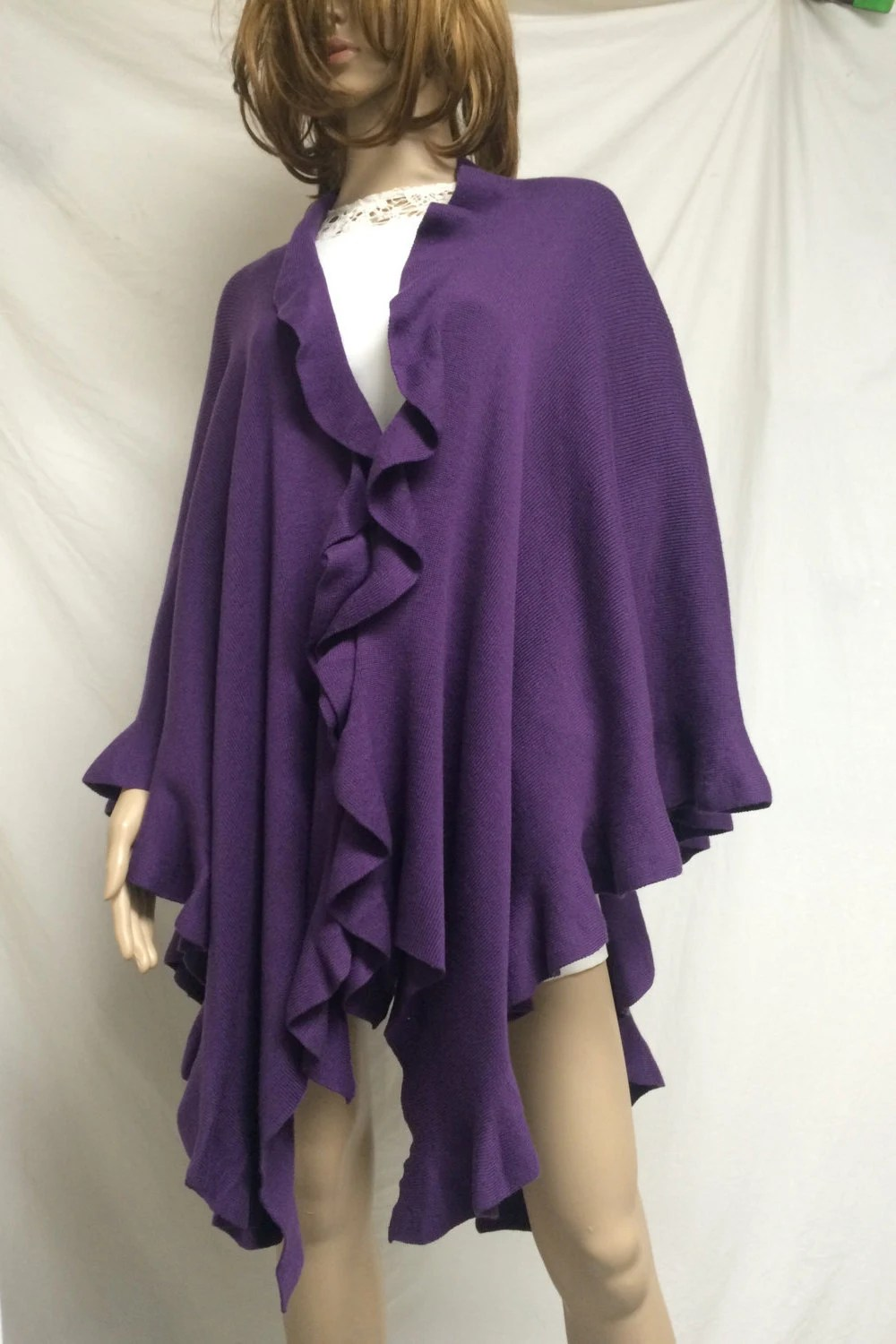 Knit shawllarge purple knit shawl ruffled wrap