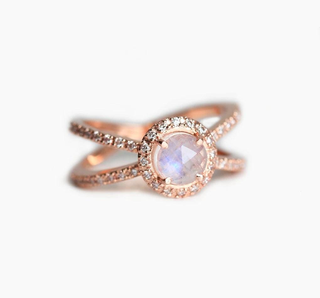 moonstone halo ring moonstone wedding band Rose Gold Engagement Ring Moonstone Diamond Ring Rose Gold Diamond Ring Double Diamond Band Ring Twisted Diamond Ring