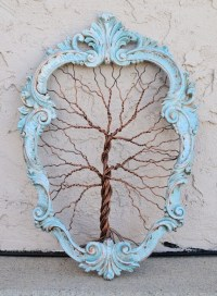 Framed tree wall art / wire sculpture Unique Art Object Tree