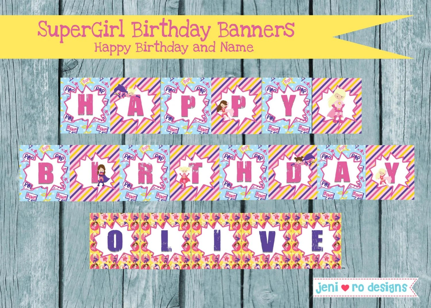 SuperGirl Birthday printable Banners - Happy Birthday and Name