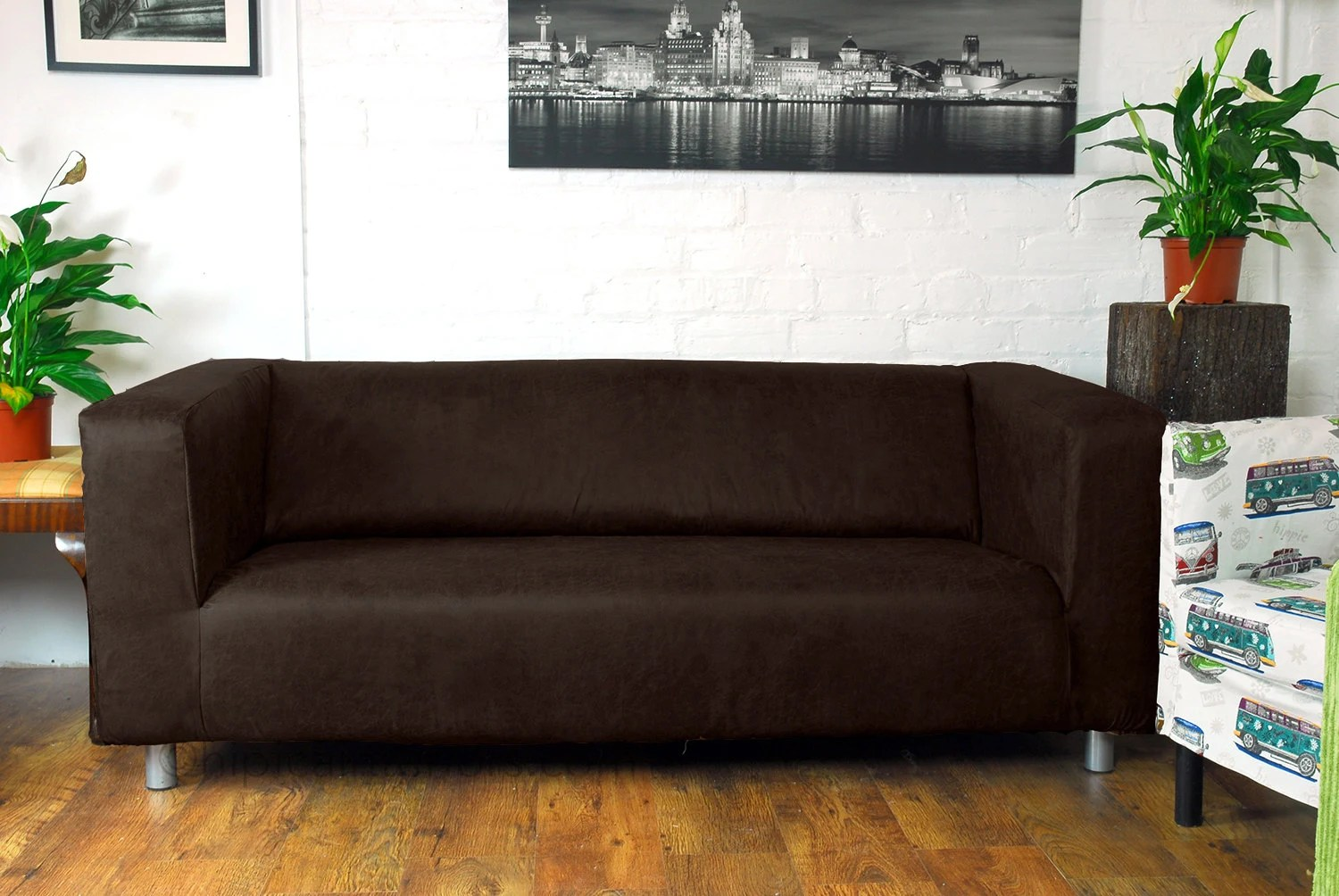 Sofa Fabric Name Ikea Klippan 2 Seat Love Seat Slip Cover In Dark Brown