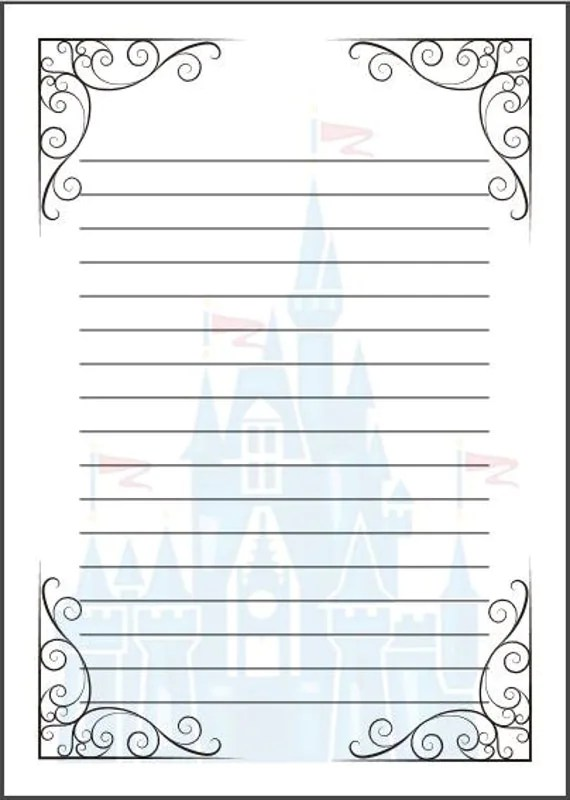 Printable writing paper with lines and picture box - Deutsch aufbau