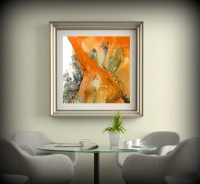 LIVING ROOM DECOR Square Wall Decor Orange Wall Art Dining ...