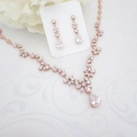 Rose Gold necklace Rose Gold Bridal jewelry set Wedding