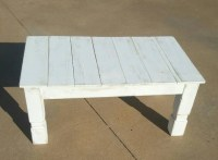Farmhouse coffee table with post legs and white distressed
