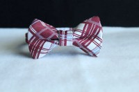Burgundy plaid bow tie for boys toddlers babies and mens.