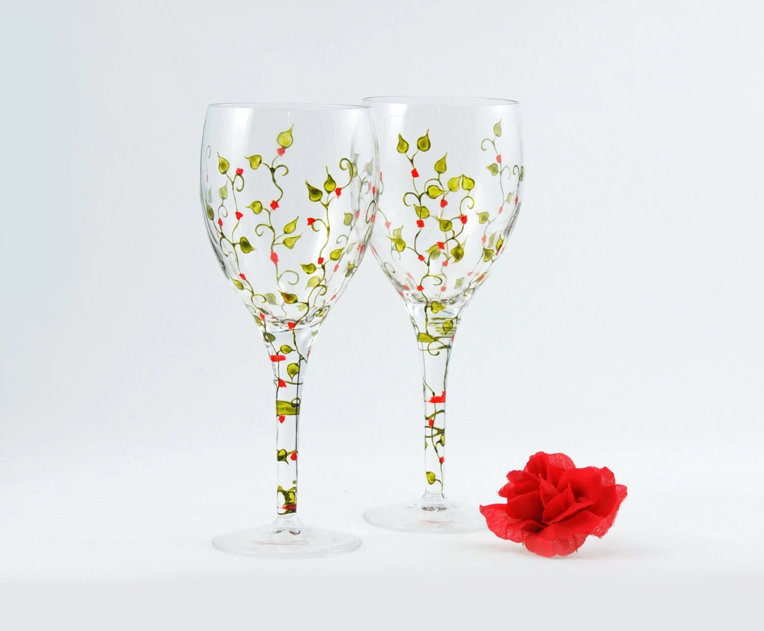 High Quality Wine Glasses Hand Painted Wine Glasses Set Of 2 High Quality White Wine