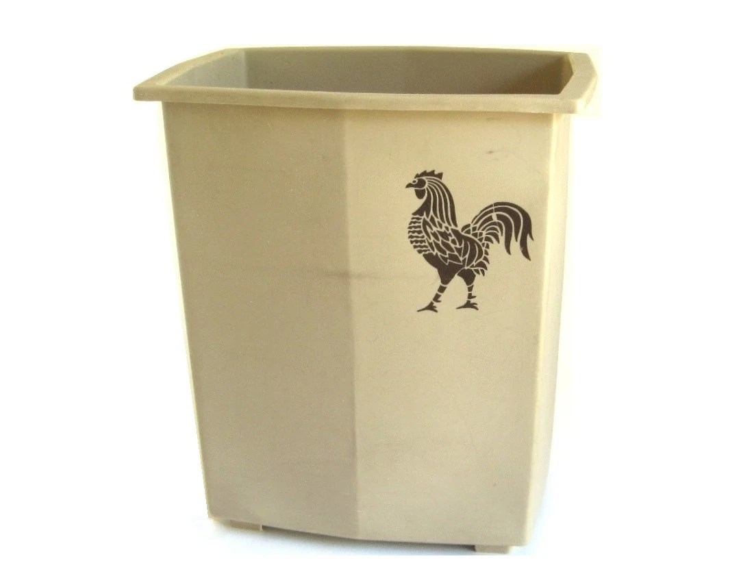 Vintage Kitchen Trash Can Plastic Kitchen Trash Can Waste Basket 1980s Beige Brown