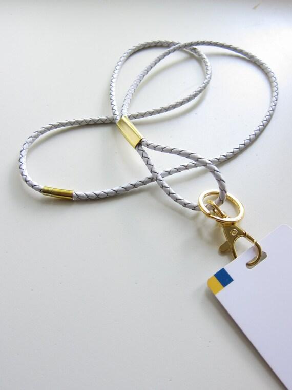 Leather Lanyard Badge Holder Gold Tone Keychain Usb