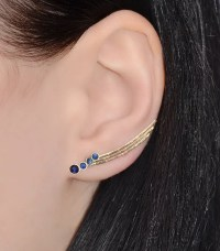 Sapphire EAR CLIMBER Earrings // 14k Gold Filled Ear Pins Up