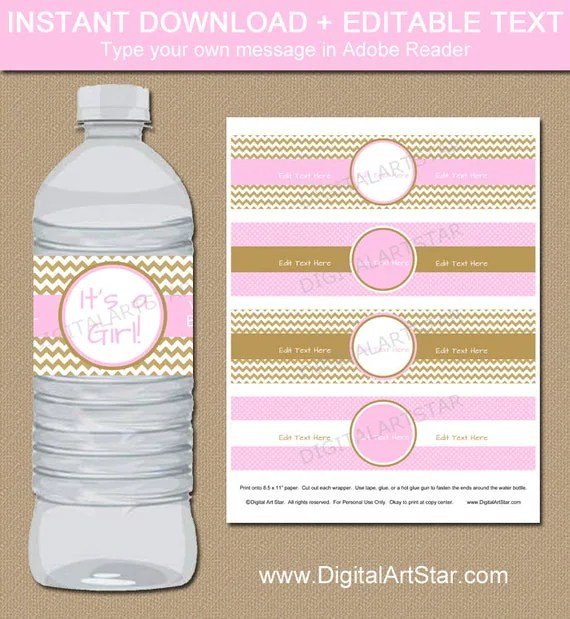 Pink  Gold Baby Shower Water Bottle Labels - EDITABLE Printable