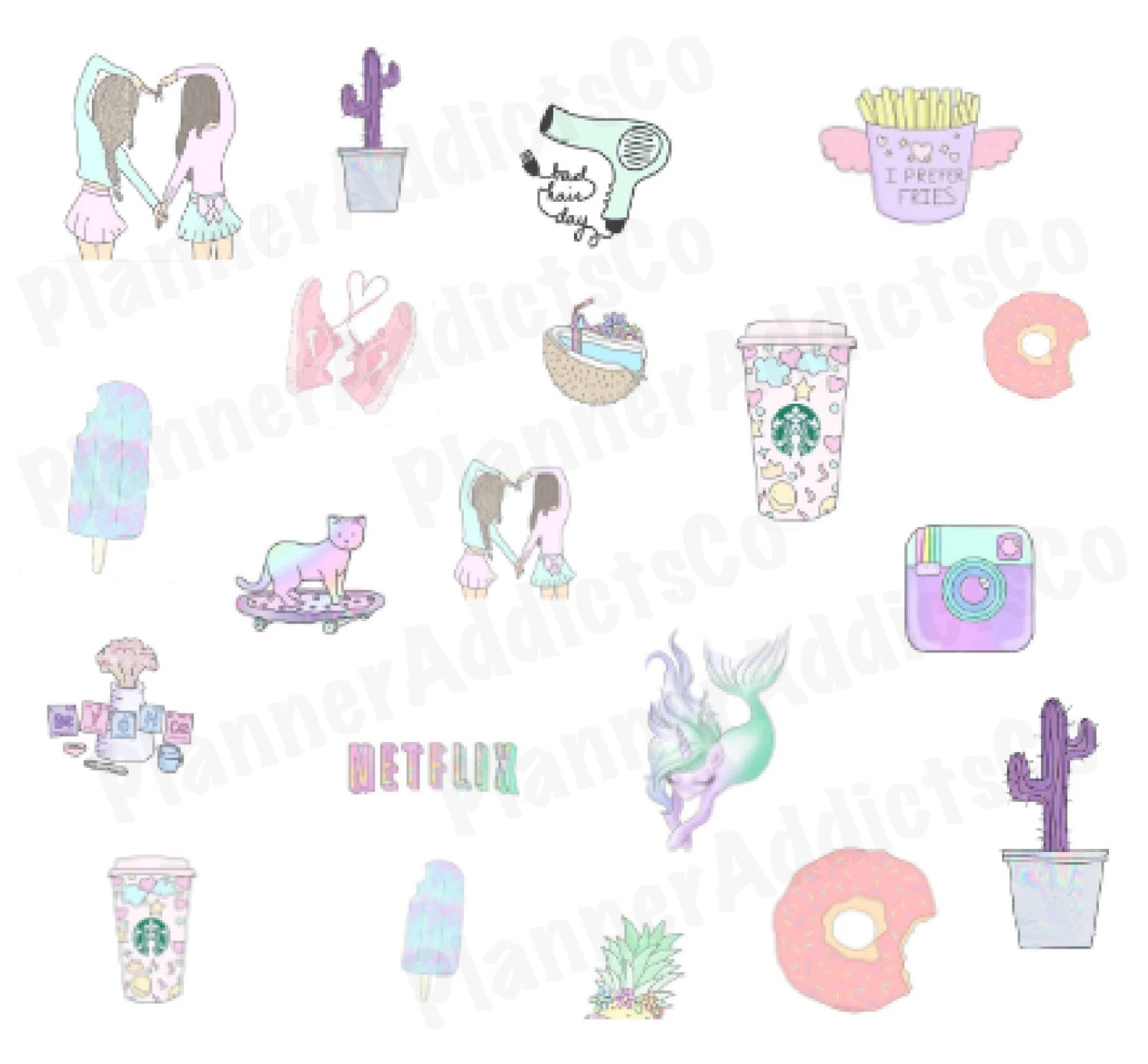 Tumblr Sticker Pastel Tumblr Inspired Pastel Girly And Cute Planner Stickers