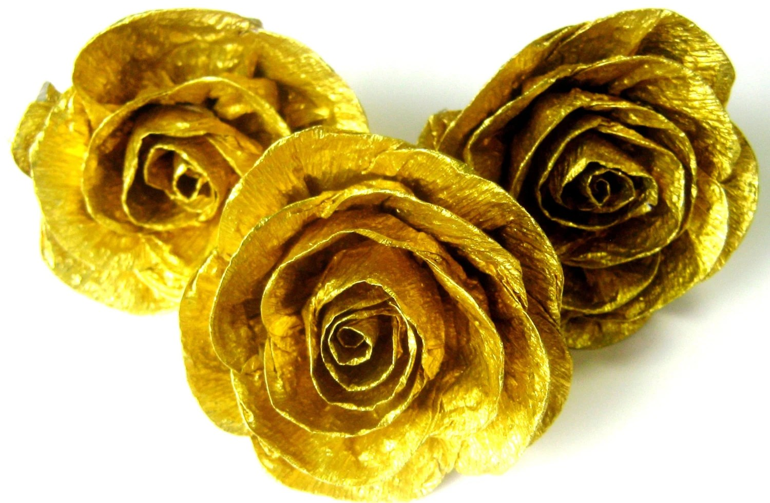 10 Gold Crepe Paper Roses Gold Baby Shower Gold Wedding