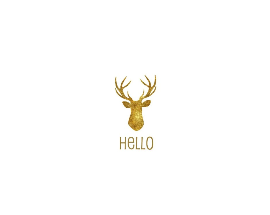 gold foil look deer head ...
