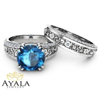 London Blue Topaz Engagement Ring Set 2 Carat Topaz Bridal Set