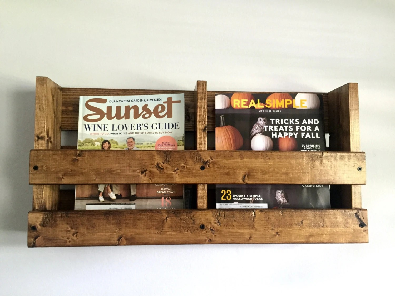 Double Wall Mounted Magazine Rack Rustic Wood Magazine Rack