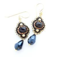 Black and Gold Earrings, Flower Dangle Earrings, Black ...