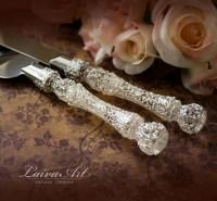 Wedding Cake Server Set & Knife Cake Cutting Set by LaivaArt