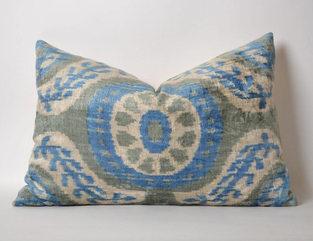 Ikat Velvet Pillow Cover Grey Light Blue Ivory Velvet By