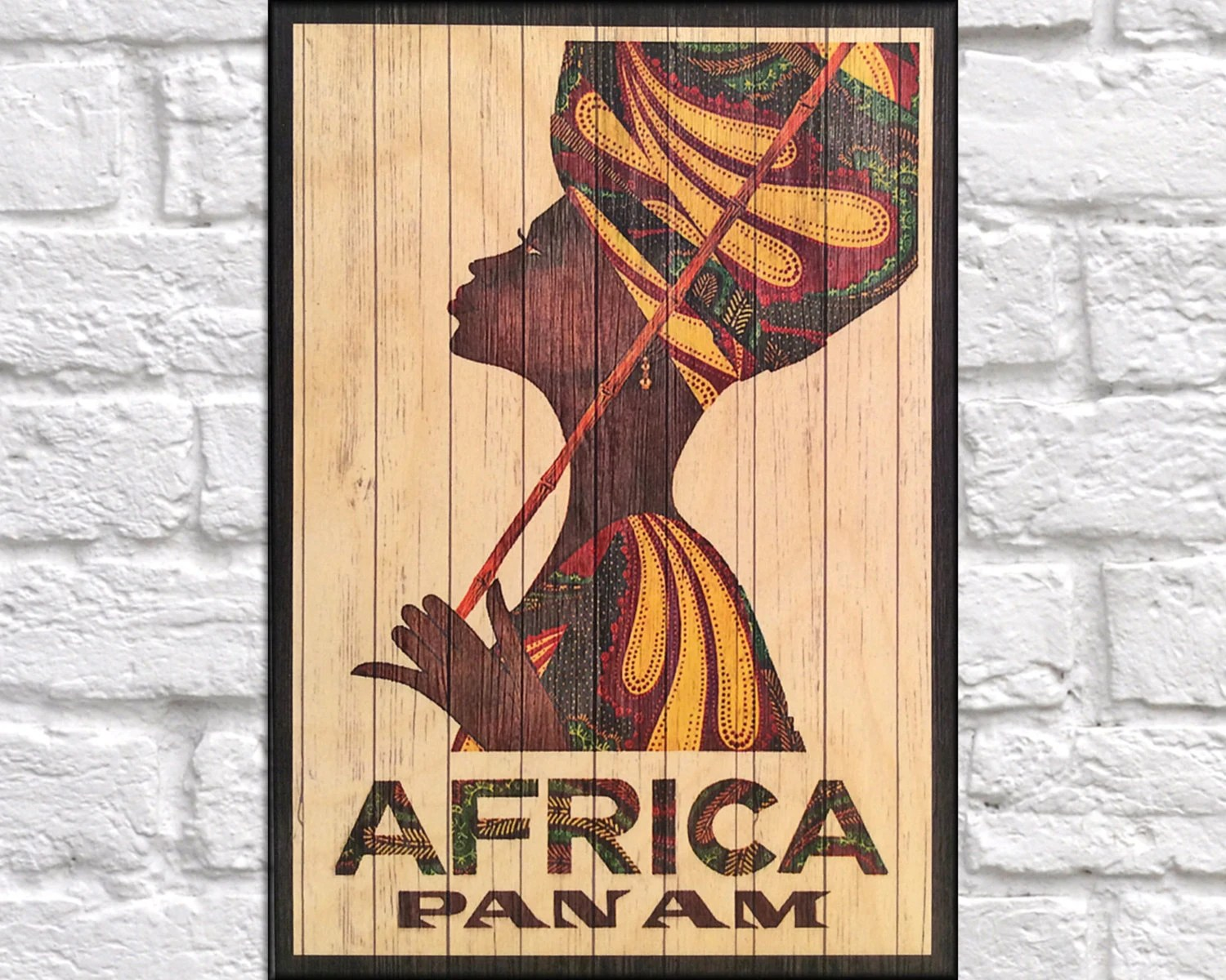 African Wooden Wall Art African Travel Poster Wood Wall Art Decor Retro Travel Poster