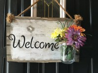 Front door welcome sign, Front porch welcome sign, Rustic ...