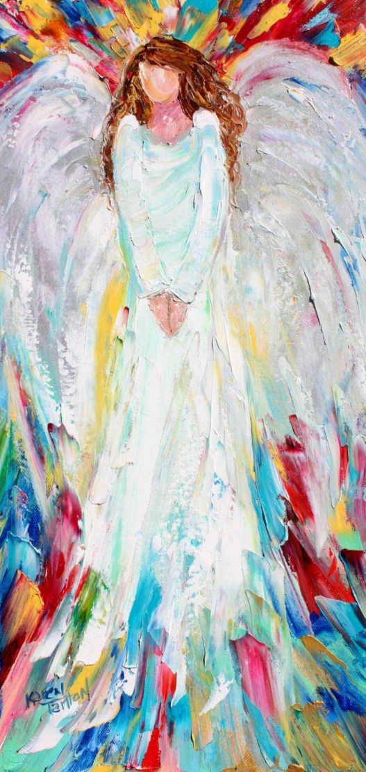 Original oil painting Angel of Joy abstract palette knife impressionism on canvas fine art by Karen Tarlton