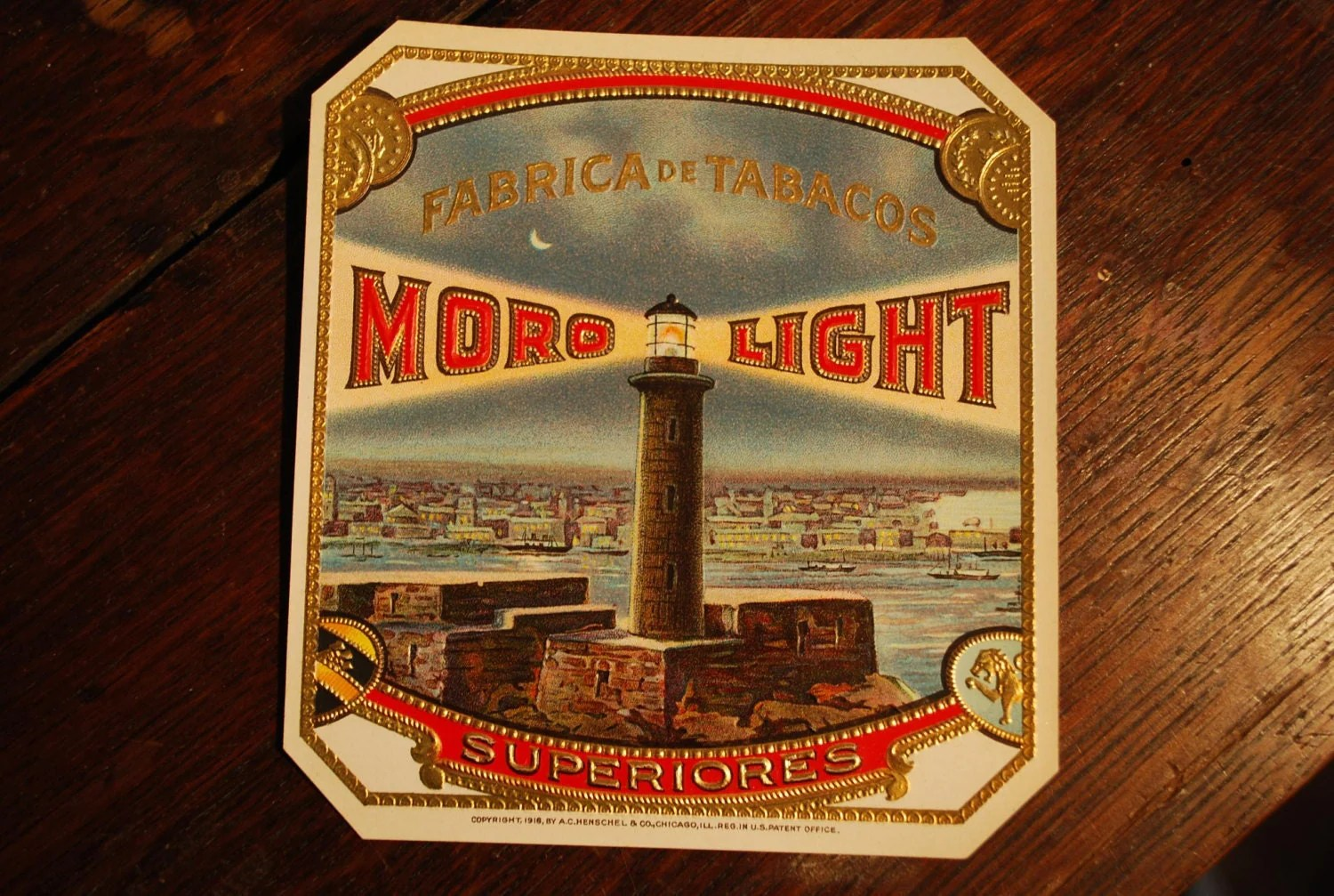 Cigar Box Lithograph Moro Light Outer Label Lighthouse