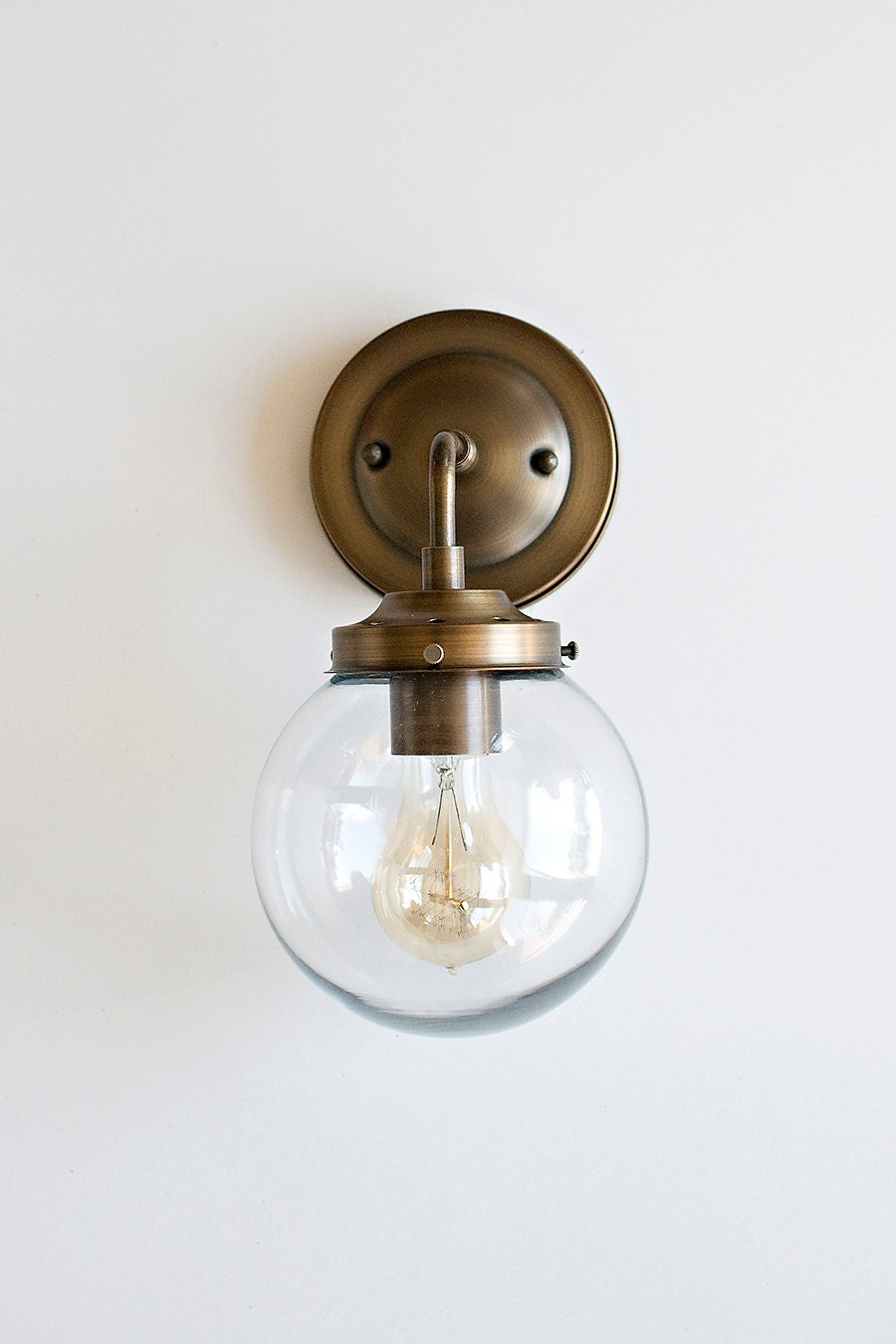 Wall Sconce With Clear Glass Globe Shadesale Use Code