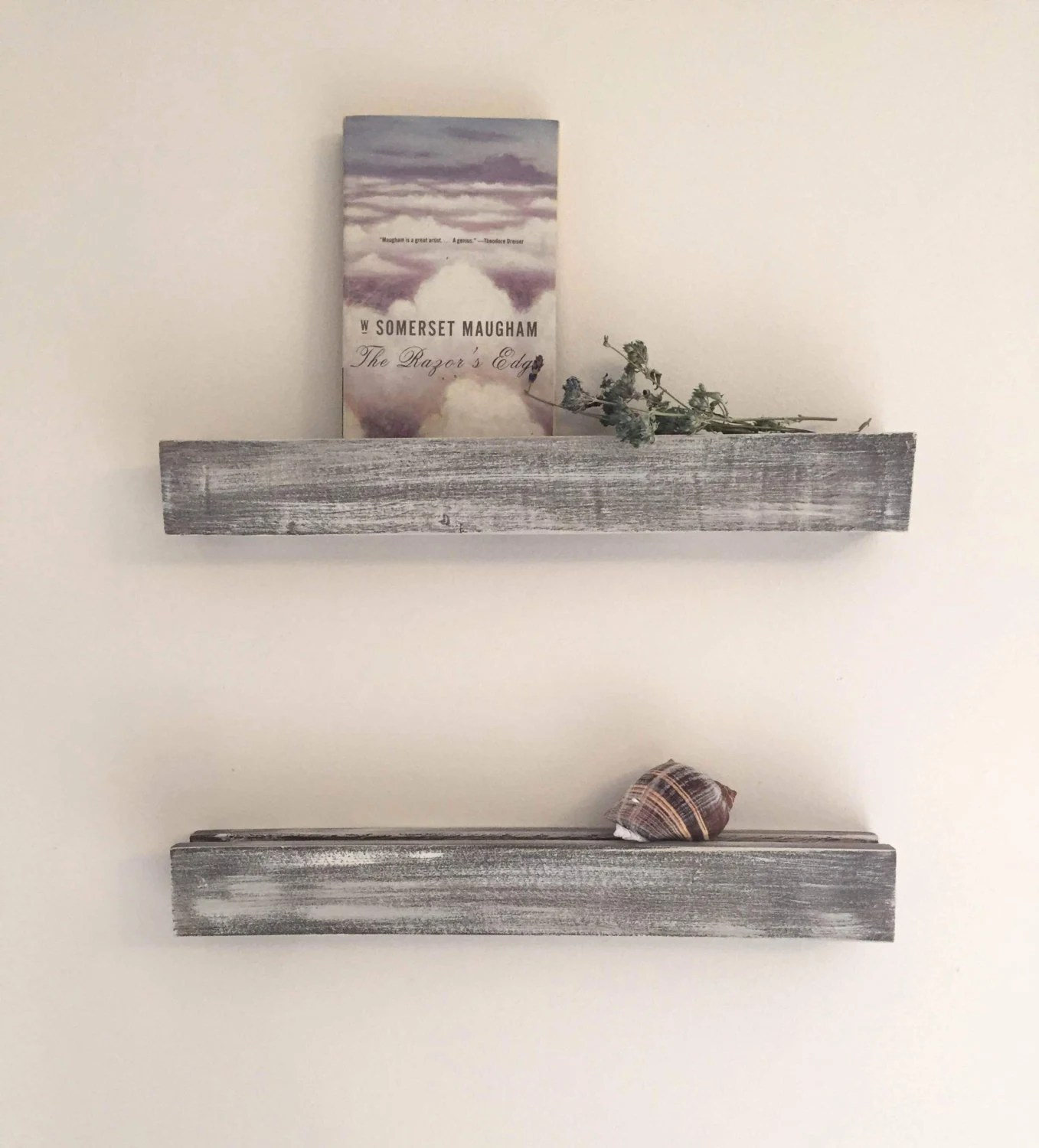 Floating Shelves Painted Distressed Gray Tone Wood 18