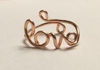 Love Ring Script /Cursive Love 14K Gold /Rose Gold-Filled