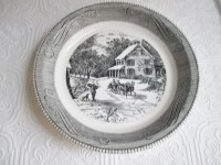 PIE PLATE Royal China Jeannette Vintage Glass Black White