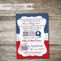 Fourth of July Baby-Q Fourth of July Baby Shower Invitation