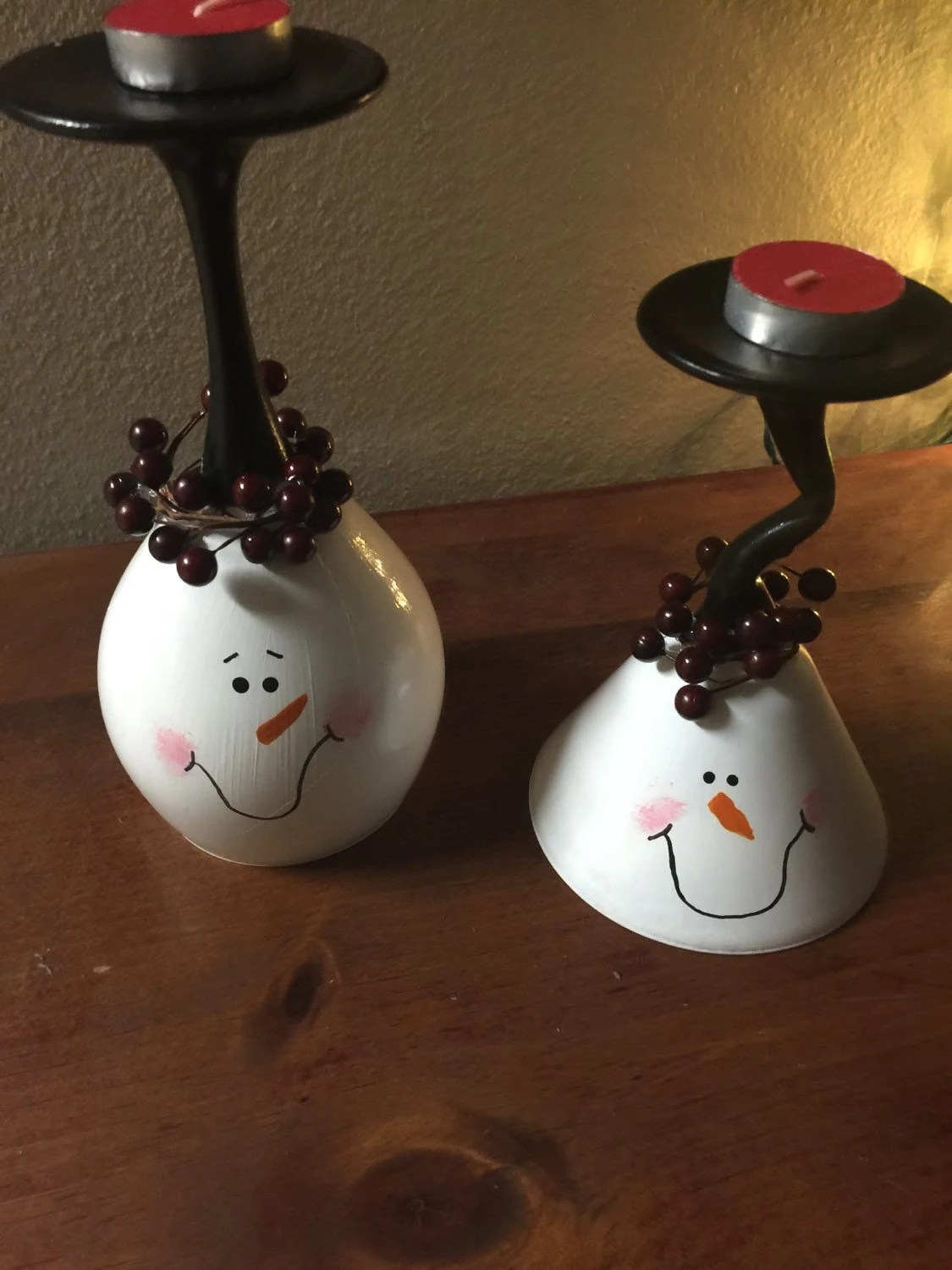 Snowman Wine Glass Candle Holder Set Candle Holder Centerpiece