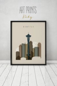 Seattle print Seattle poster Wall art Wall decor Seattle