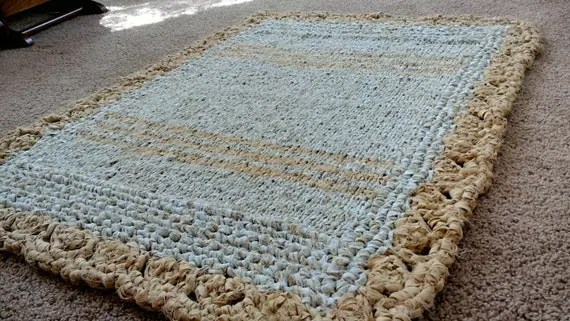 Vintage Rag Rug Gold And White Crocheted By