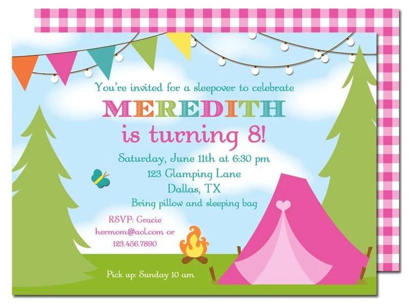 Camping Glamping Invitation Printable - or Printed with FREE - free printable camping invitations