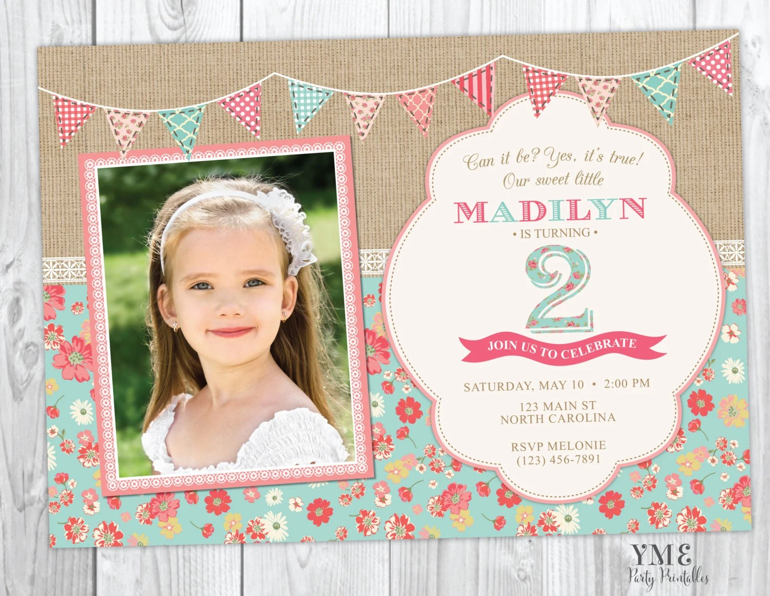Second Birthday Invitation - Shabby Chic Burlap and Lace Invite With
