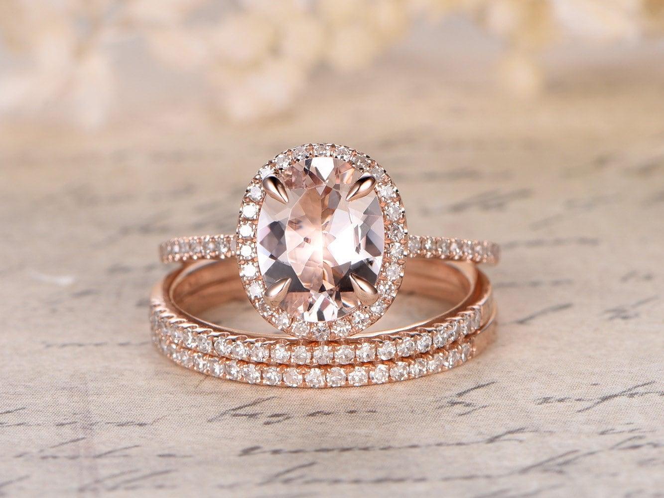 thin wedding band thin wedding bands Valentine s present mm Oval Cut Morganite Ring Pink Morganite Engagement Ring Set Thin Diamond Wedding Band K Gold 3 Wedding Rings Set