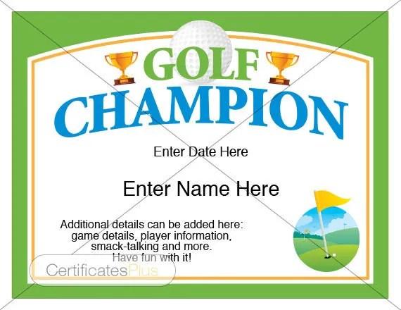 Golf Certificate Golf award template golf trophy - first place award template