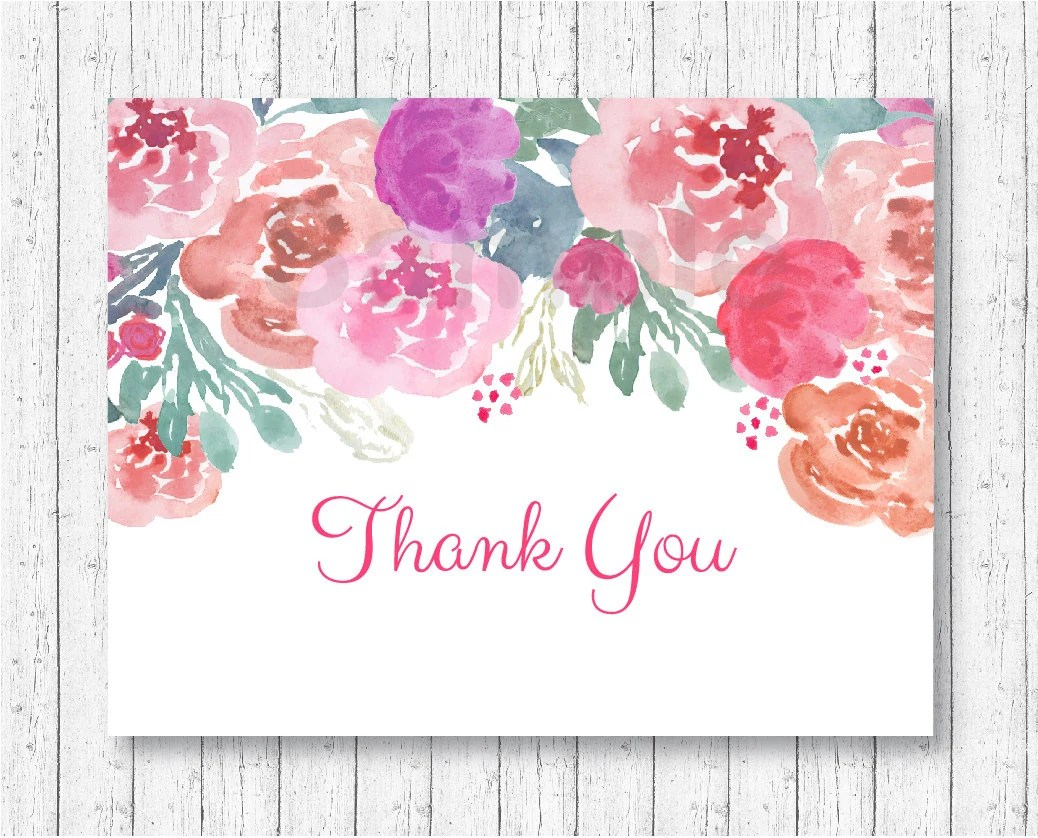 Pink Floral Thank You Card / Floral Baby Shower / Watercolor Flowers