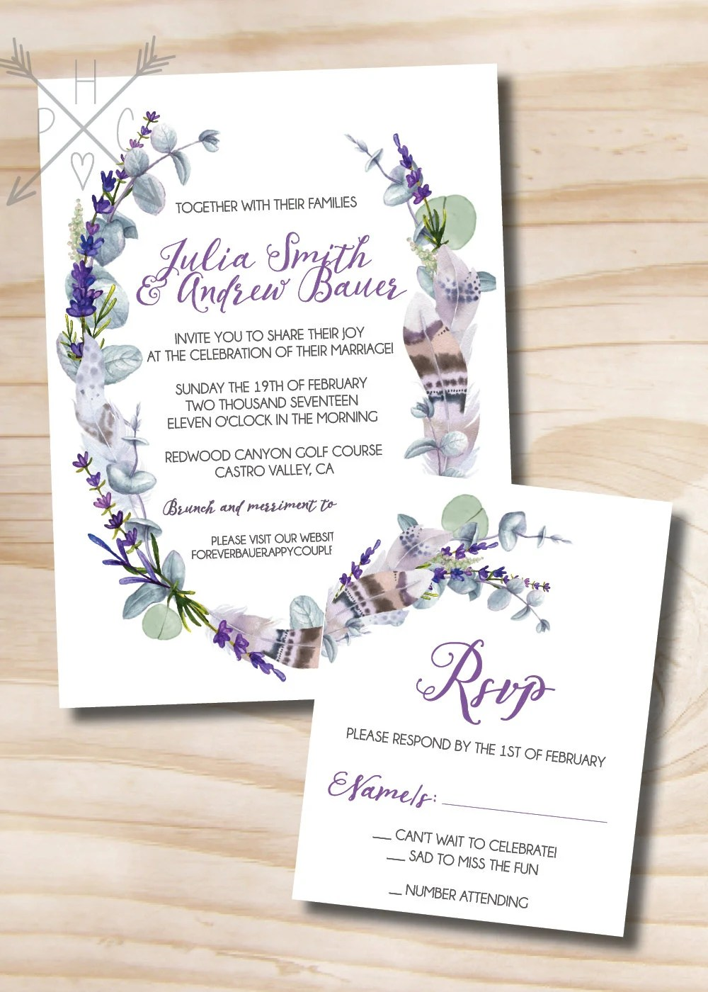 Rustic Feather, Eucalyptus and Lavender Wedding Invitation and