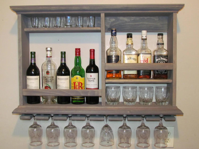 Mini Bar Weathered Gray Wine Rack 3 X 2 Liquor By Dogwoodshop