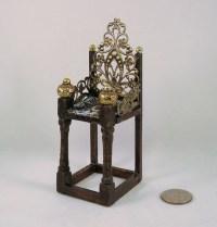 Medieval Tudor Gothic dark wood chair filigree medallion back