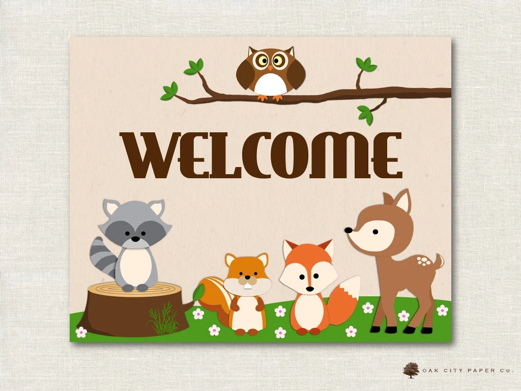 Fall Woodland Creatures Wallpaper Woodland Animal Baby Shower Decorations Woodland Animal Baby