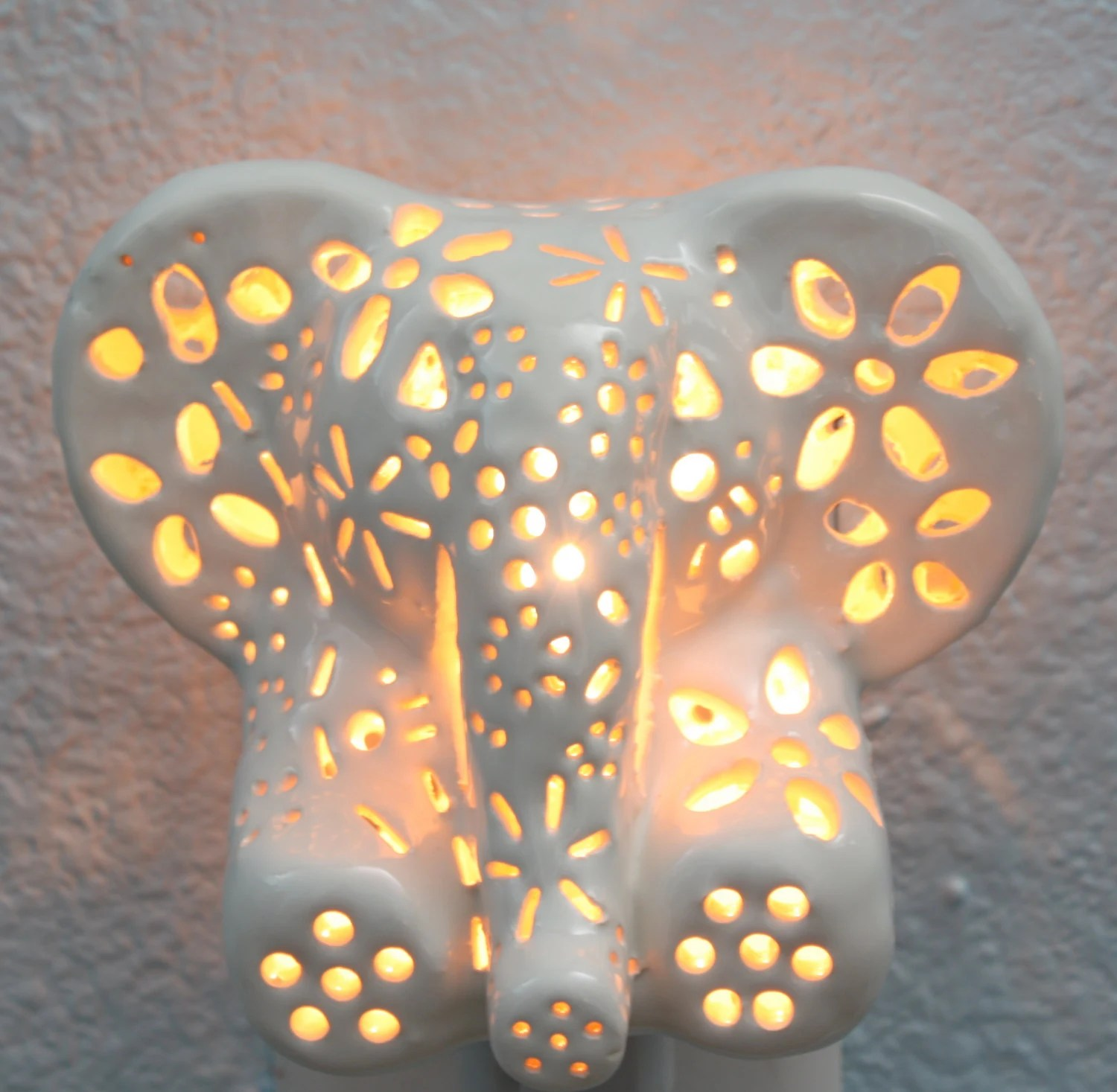Elephant Night Light Ceramic Elephant Night Light By Lilyslights On Etsy