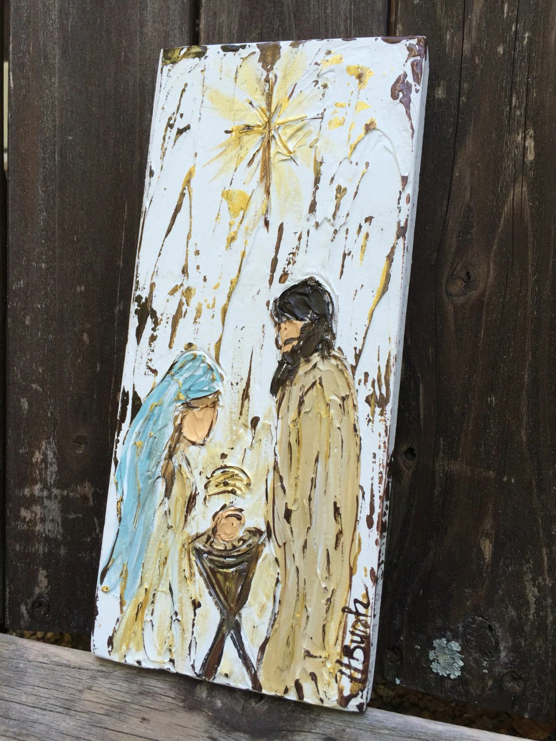 Rustic Canvas Painting Ideas Nativity Painting Nativity Gift Christmas Decor Rustic